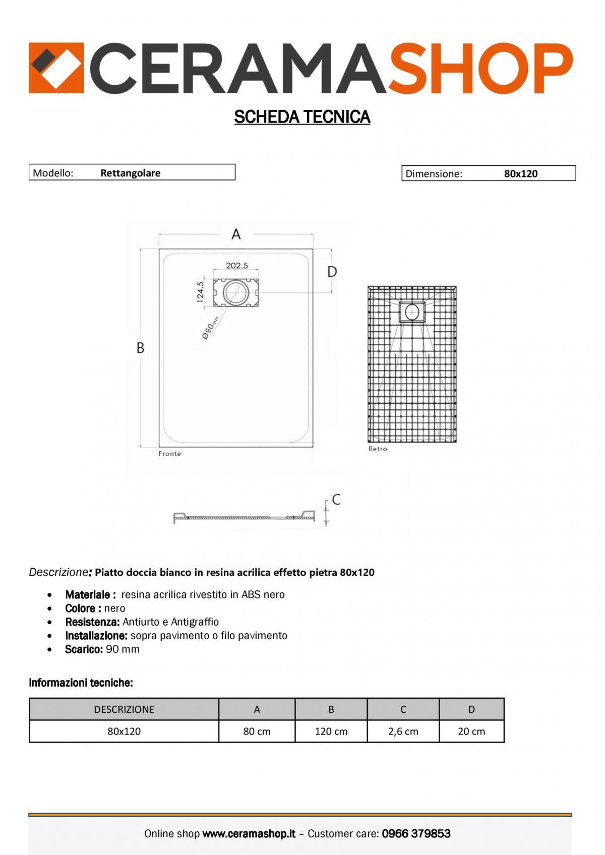 80x120 0001 11 scaled Piatto doccia rettangolare nero 80x120 h2,6 cm riducibile ultraslim effetto pietra
