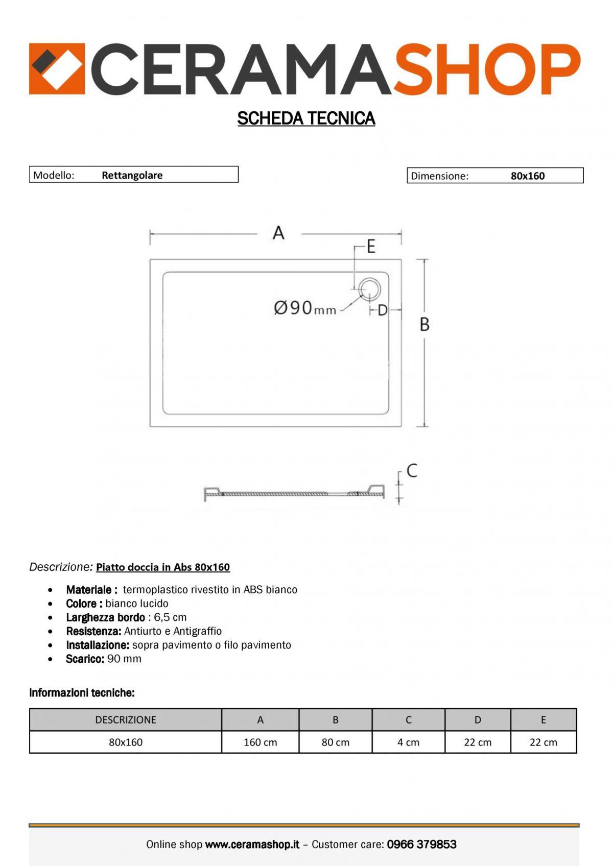 80x160 0001 1 scaled Piatto doccia rettangolare