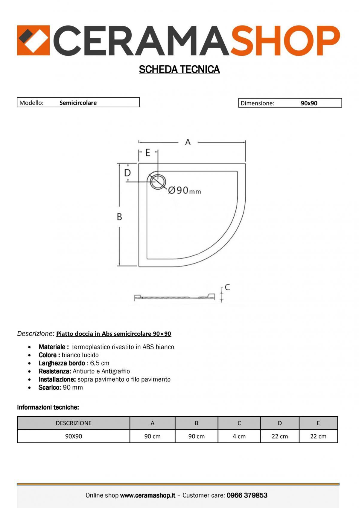 90x90 0001 1 scaled Piatto doccia semicircolare