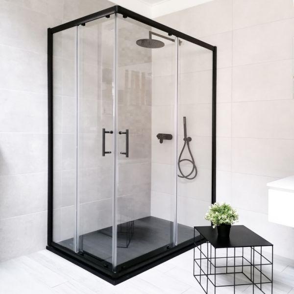 Box Doccia angolare colore nero lati scorrevoli dim 80x120 vetro extra big 2016 621 Ceramashop Store Online di igienico-sanitari ed accessori per il bagno