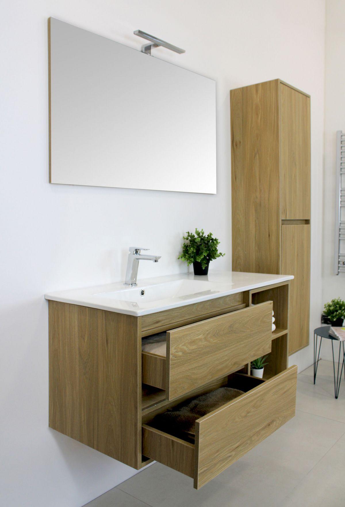 LONDRA ROVERE 2 scaled Mobile bagno Londra sospeso 100 cm rovere effetto legno con lavabo specchio e pensile