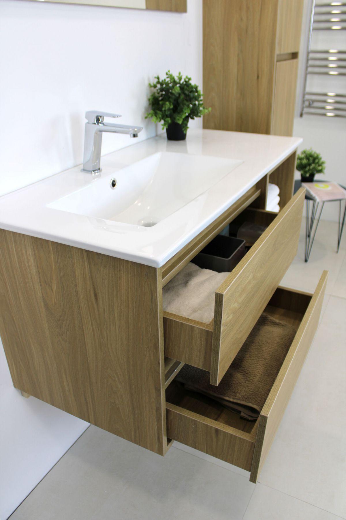 LONDRA ROVERE 3 scaled Mobile bagno Londra sospeso 100 cm rovere effetto legno con lavabo specchio lampada