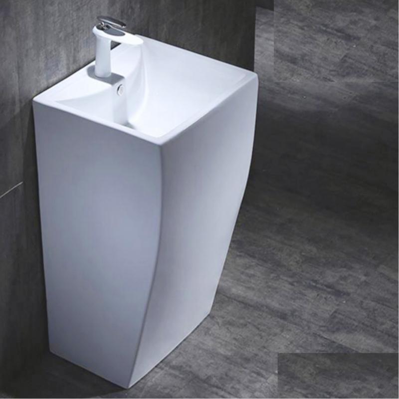 Lavabo Freestanding in ceramica 47x42x h83cm extra big 2141 412 Lavabo freestanding cod G-007 in ceramica di forma rettangolare col bianco lucido