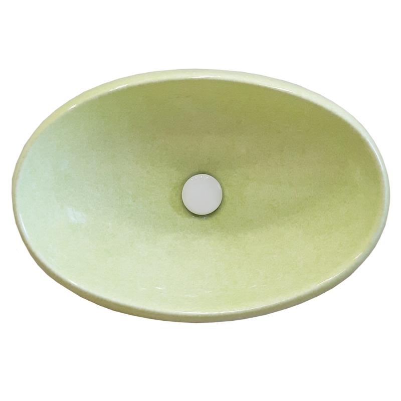Lavabo da appoggio in ceramica colore verde 60x40x h15 extra big 2025 415 Lavabo bacinella cod CN-010 da appoggio in ceramica di forma ovale col verde lucido