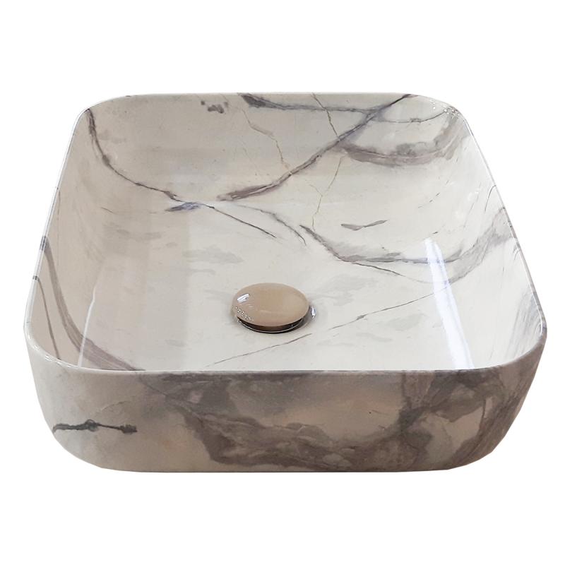 Lavabo da appoggio in ceramica effetto marmo 60x40x h15 extra big 2026 407 Lavabo bacinella cod MB-026 da appoggio in ceramica di forma rettangolare finitura effetto marmo