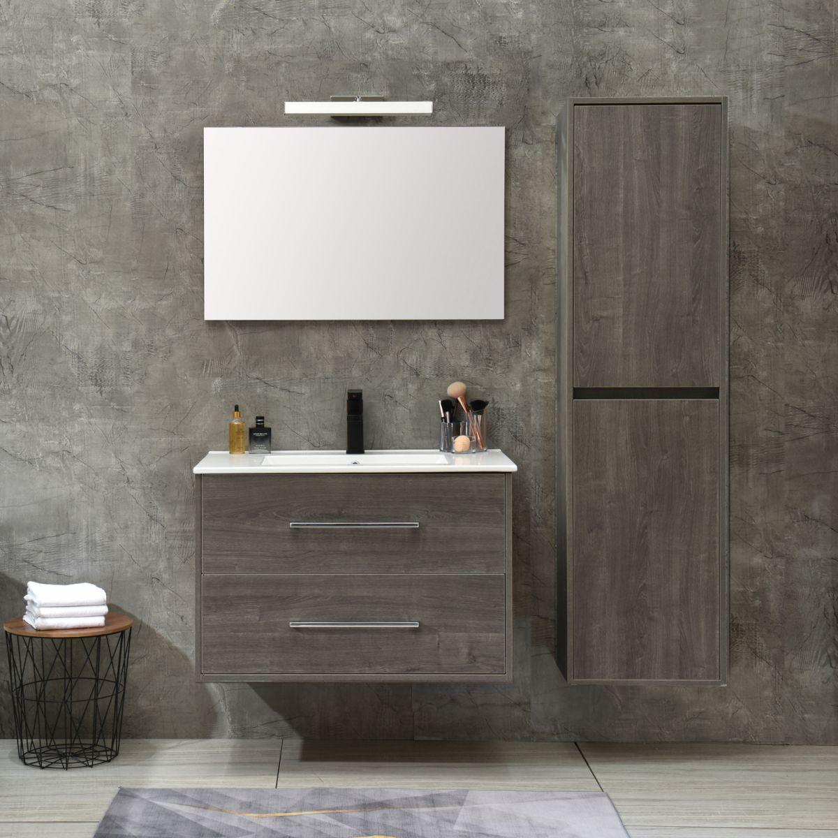 MF 1805 1 G Mobile bagno Praga sospeso 80 cm grigio effetto legno con lavabo,specchio e colonna pensile