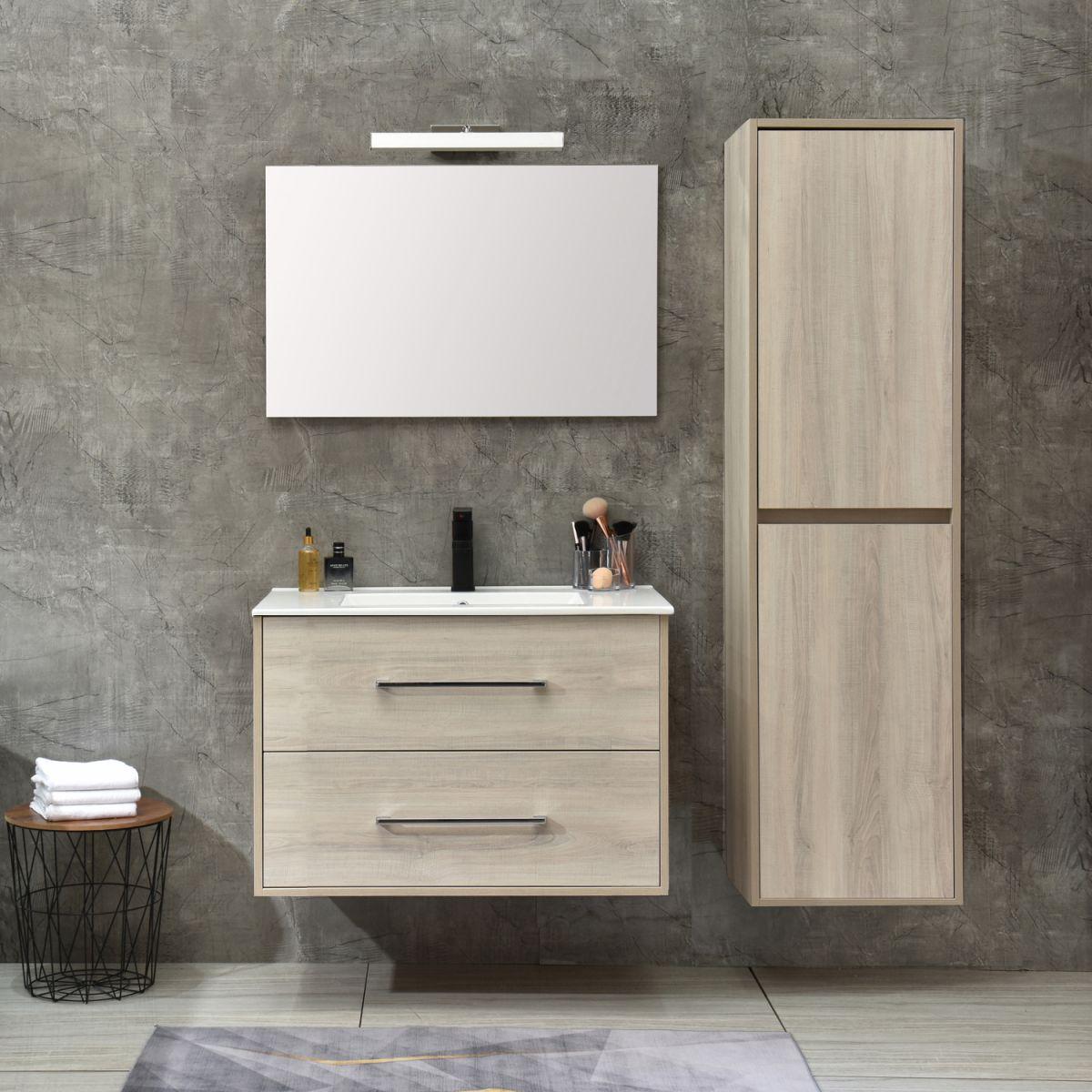 MF 1805 1 W Mobile bagno Praga sospeso 80 cm bianco effetto legno con lavabo,specchio e colonna pensile