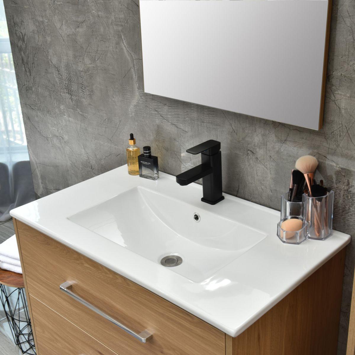 MF 1805 1M 2 Mobile bagno Praga sospeso 100 cm rovere effetto legno con lavabo e specchio