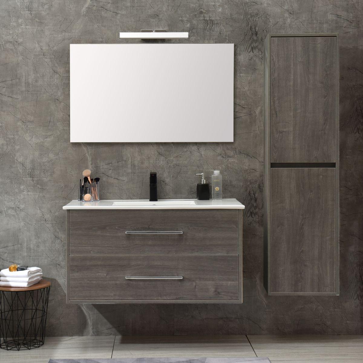 MF 1805 2 G Mobile bagno Praga sospeso 120 cm grigio effetto legno con lavabo,specchio e colonna pensile