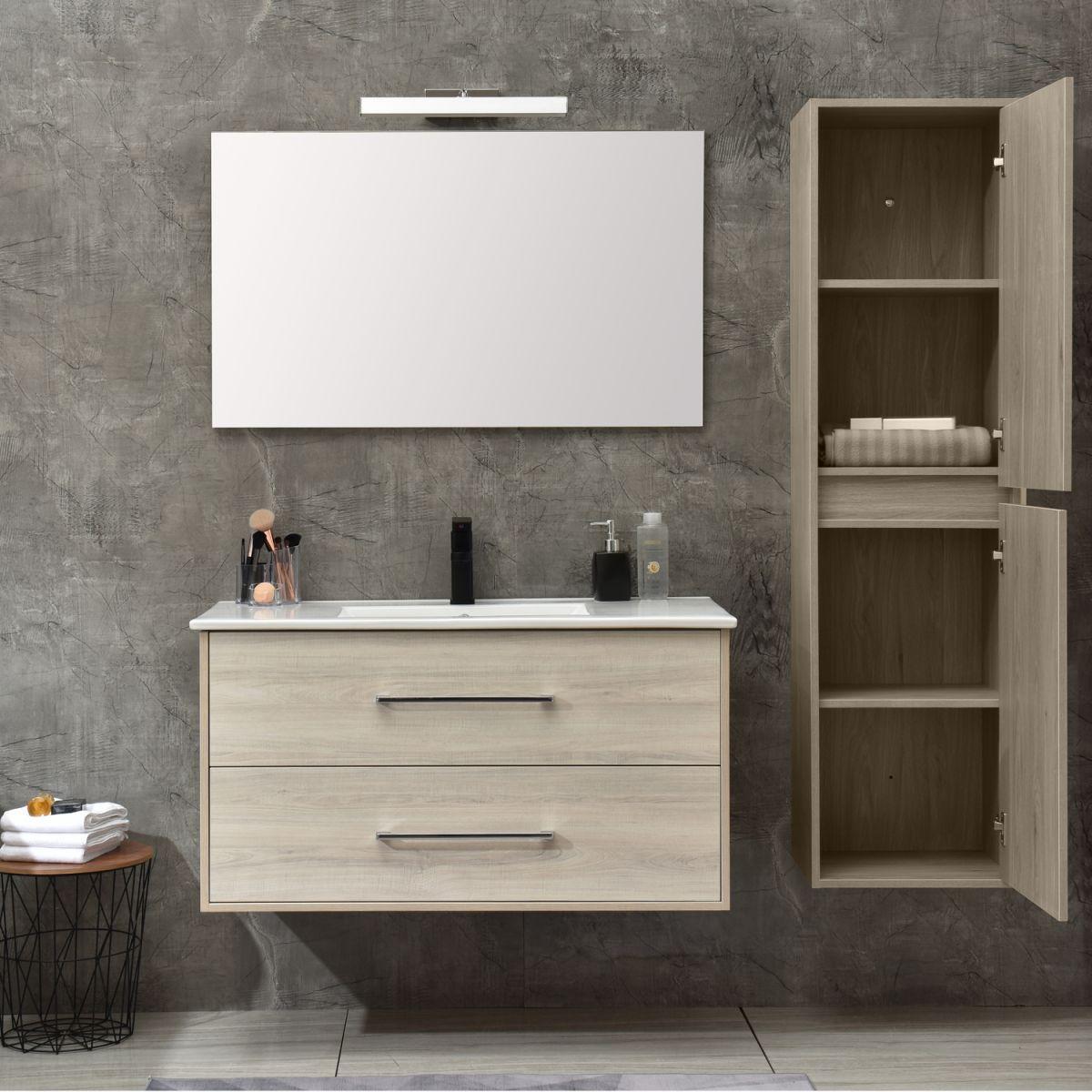 MF 1805 2 W 0 Mobile bagno Praga sospeso 100 cm bianco effetto legno con lavabo,specchio e colonna pensile
