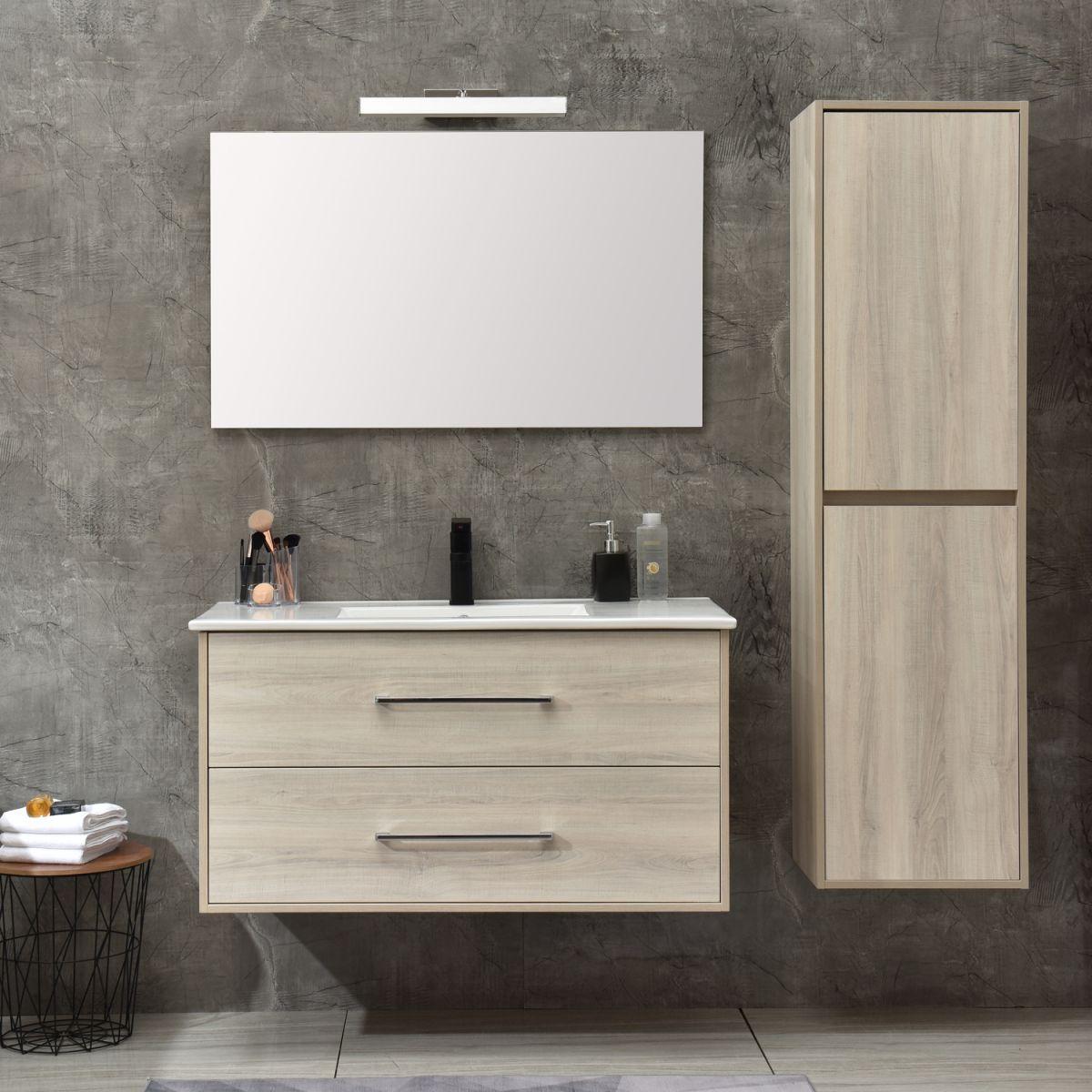 MF 1805 2 W 1 Mobile bagno Praga sospeso 120 cm bianco effetto legno con lavabo,specchio e colonna pensile