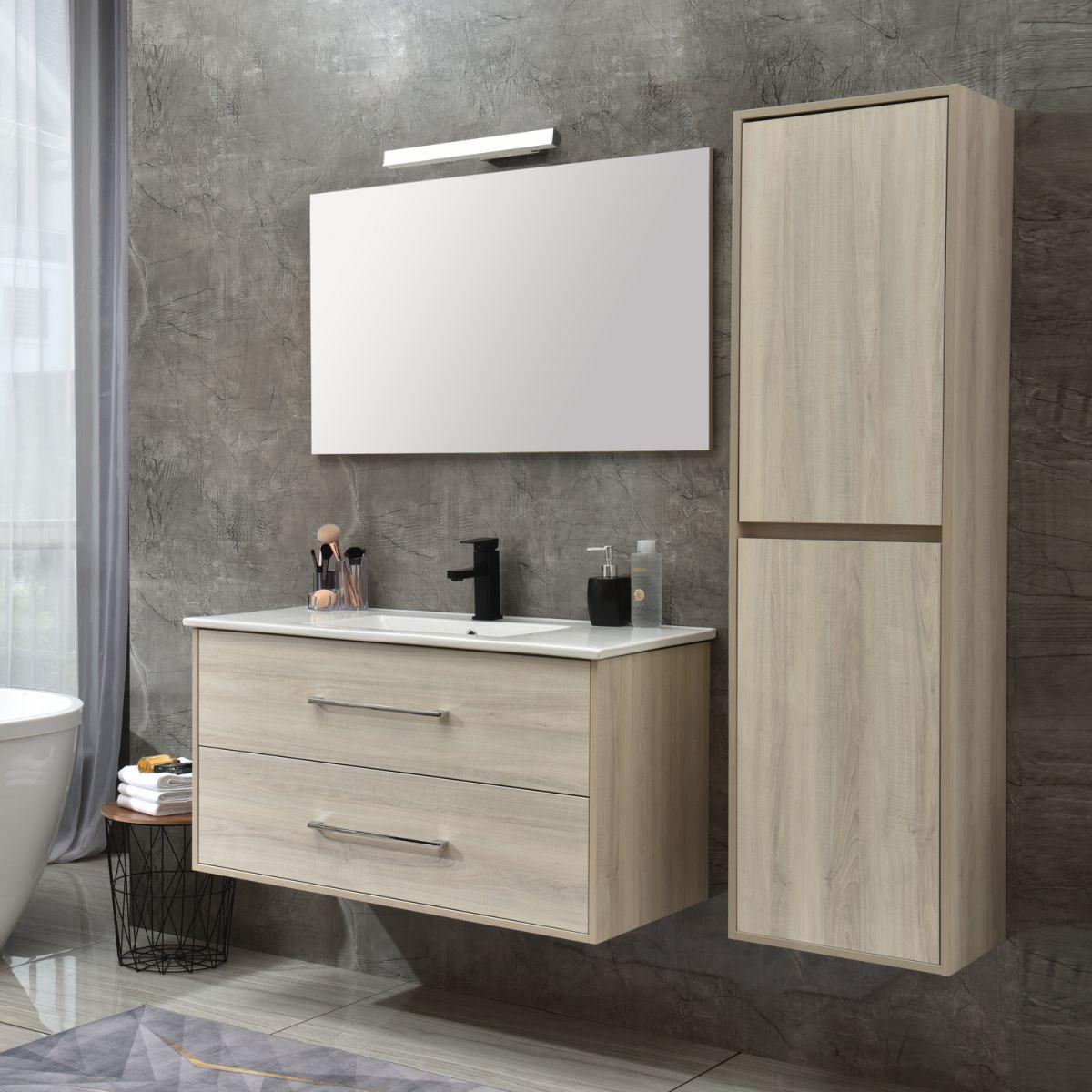 MF 1805 2 W 2 Mobile bagno Praga sospeso 120 cm bianco effetto legno con lavabo,specchio e colonna pensile