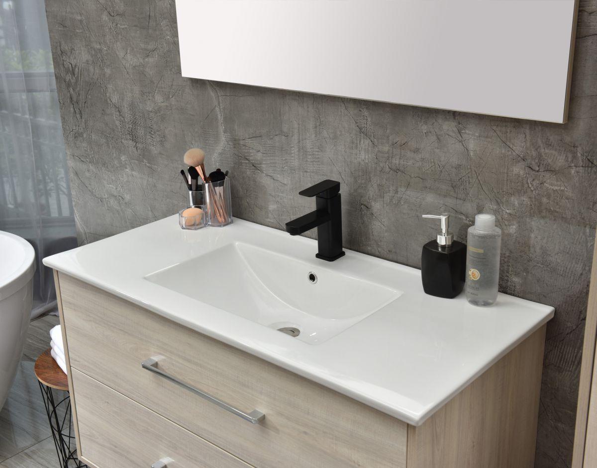 MF 1805 2 W 3 Mobile bagno Praga sospeso 120 cm bianco effetto legno con lavabo e specchio