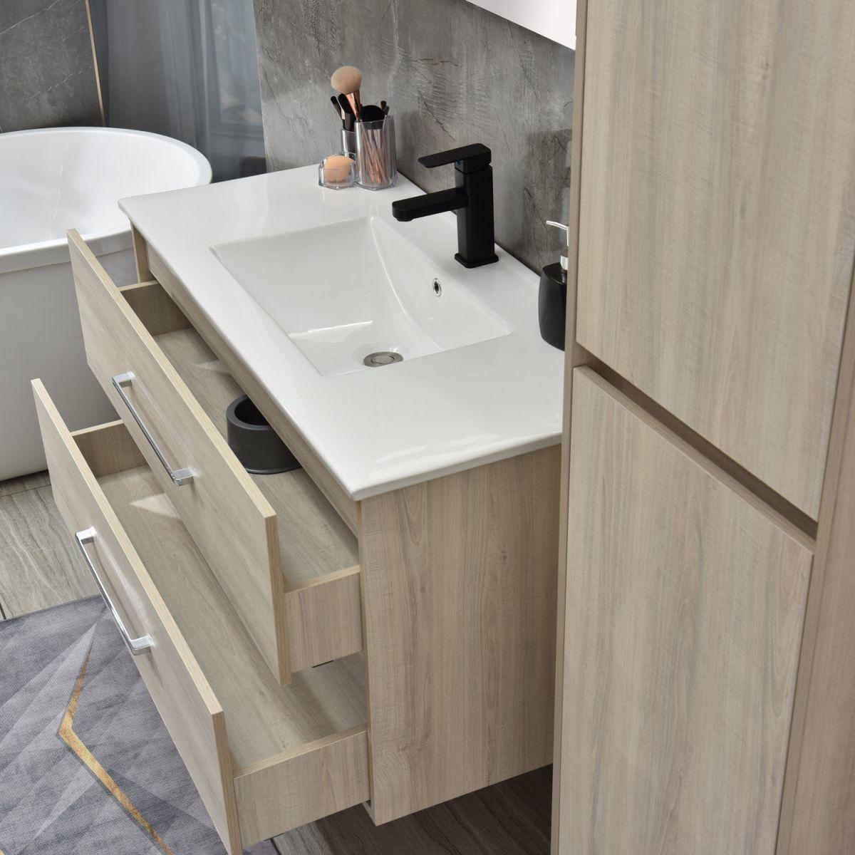 MF 1805 2 W 4 Mobile bagno Praga sospeso 120 cm bianco effetto legno con lavabo,specchio e colonna pensile
