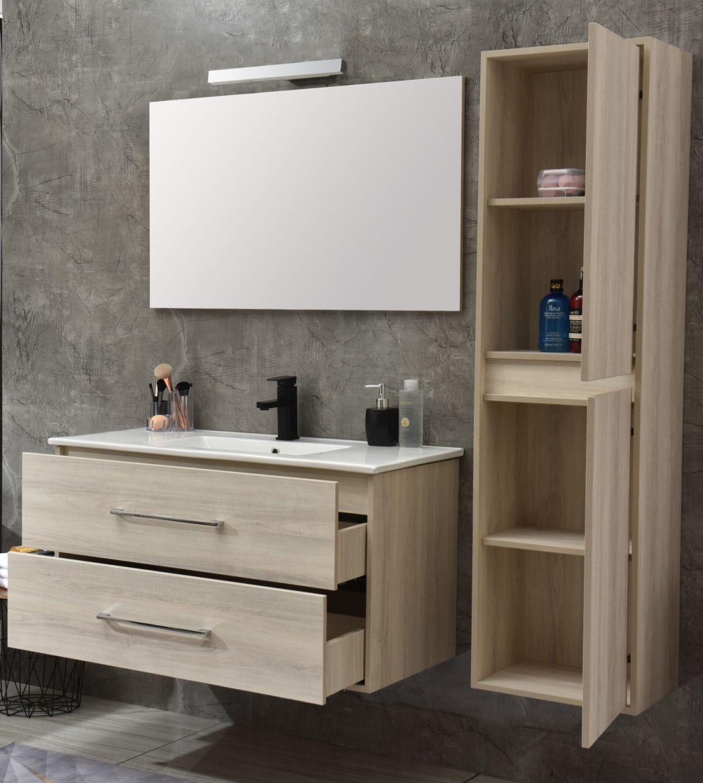 MF 1805 2 W 5 Mobile bagno Praga sospeso 120 cm bianco effetto legno con lavabo,specchio e colonna pensile