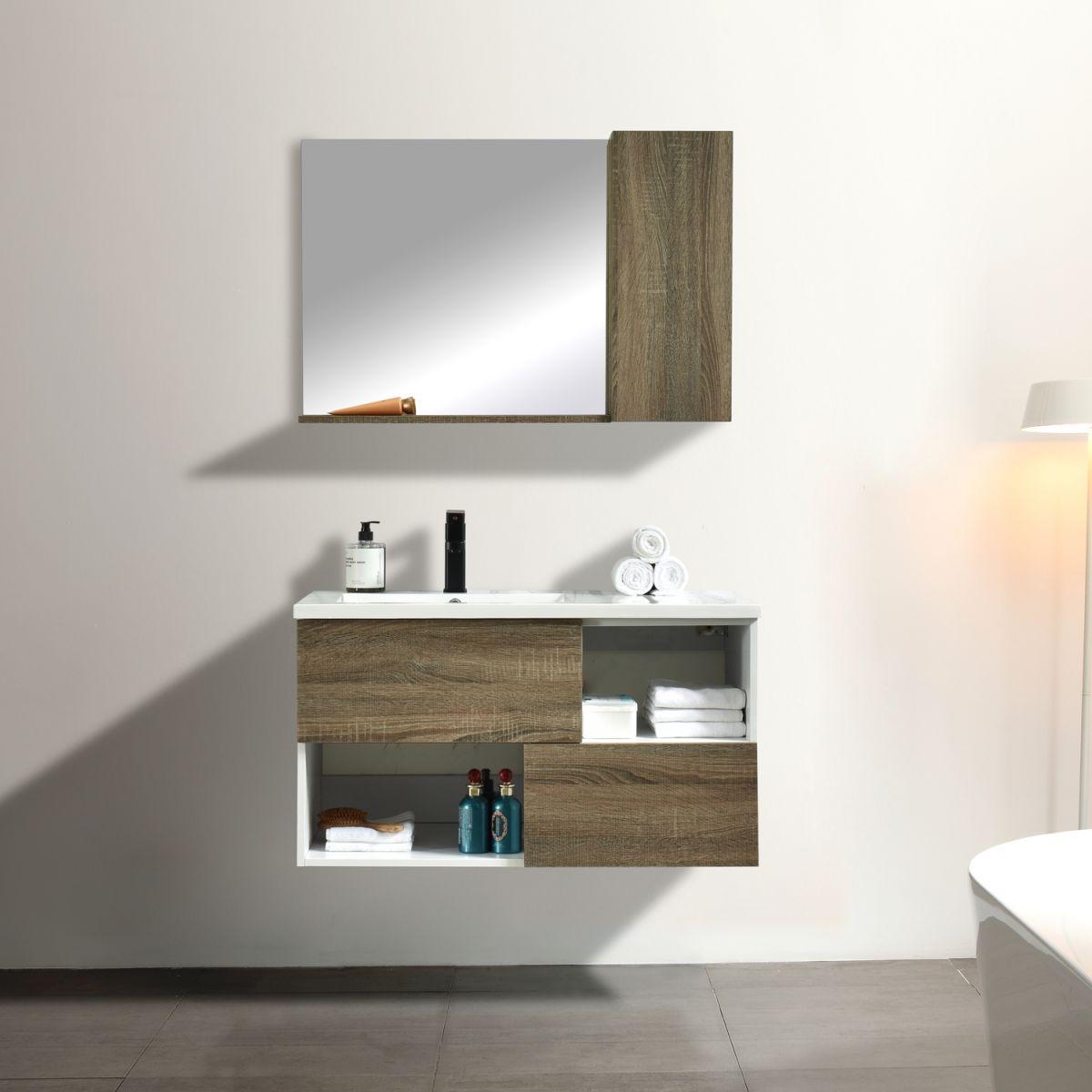 MF 1901 1 Mobile bagno Ginevra sospeso 90 cm rovere effetto legno con lavabo specchio e lampada