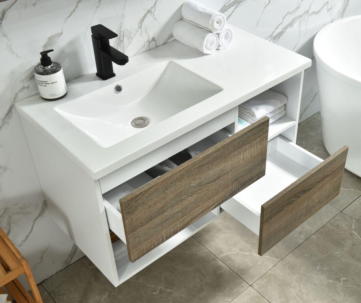 MF 1901 2 Mobile bagno Ginevra sospeso 90 cm rovere effetto legno con lavabo specchio e lampada