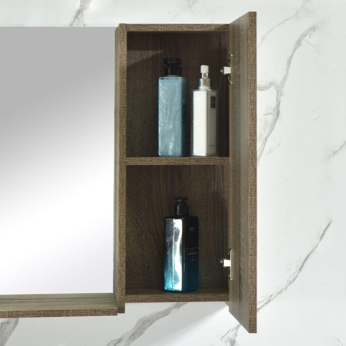 MF 1901 3 Mobile bagno Ginevra sospeso 90 cm rovere effetto legno con lavabo specchio e lampada