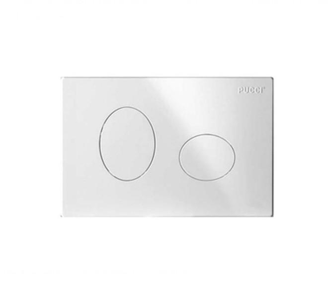 PLACCA PUCCI BIANCA Placca per cassetta incasso pucci eco, 2 pulsanti modello Ellisse bianca