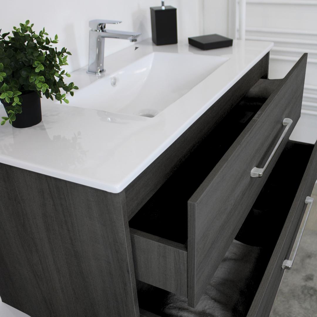 PRAGA 100 BIANCO DETTgrigio Mobile bagno Praga sospeso 80 cm grigio effetto legno con lavabo,specchio e colonna pensile