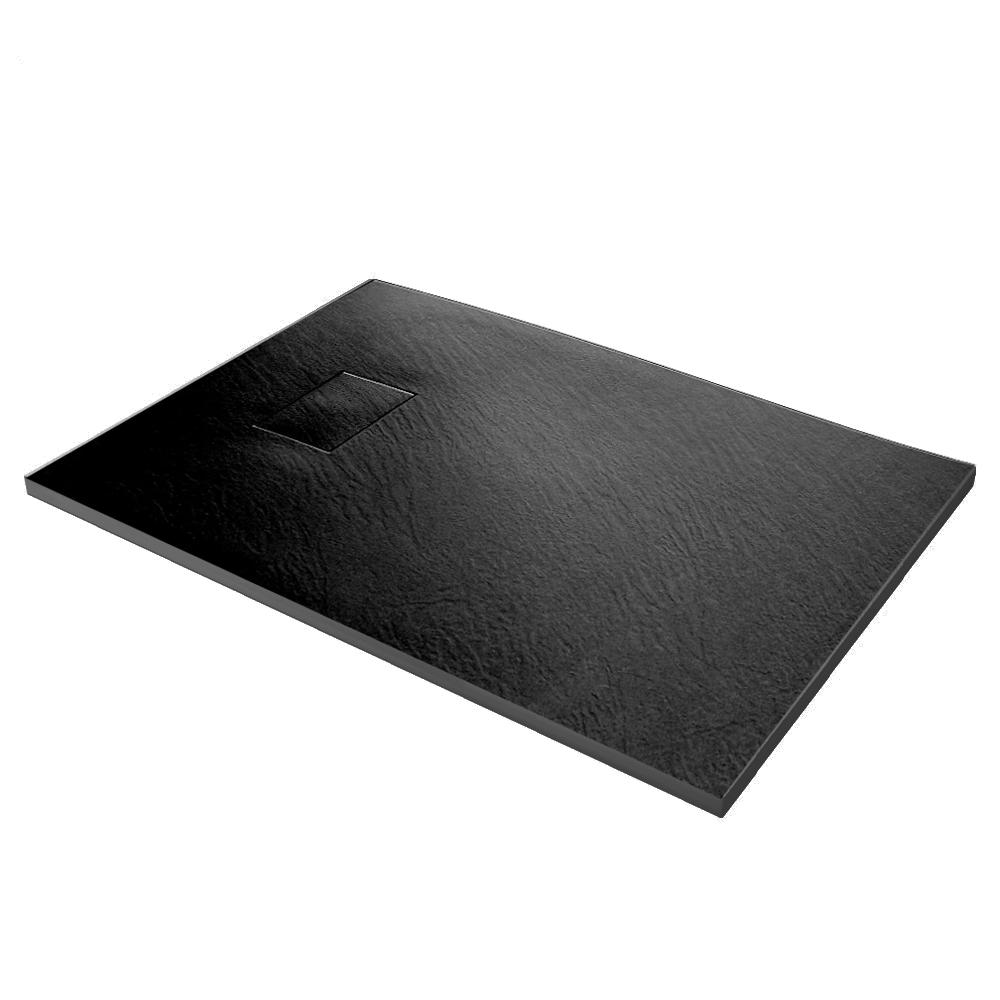 Piatto doccia effpietra nero 1 Piatto doccia rettangolare nero 80x120 h2,6 cm riducibile ultraslim effetto pietra