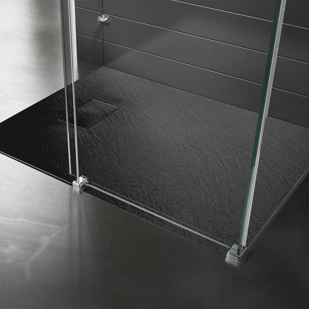 Piatto doccia effpietra nero 2 Piatto doccia rettangolare nero 80x120 h2,6 cm riducibile ultraslim effetto pietra