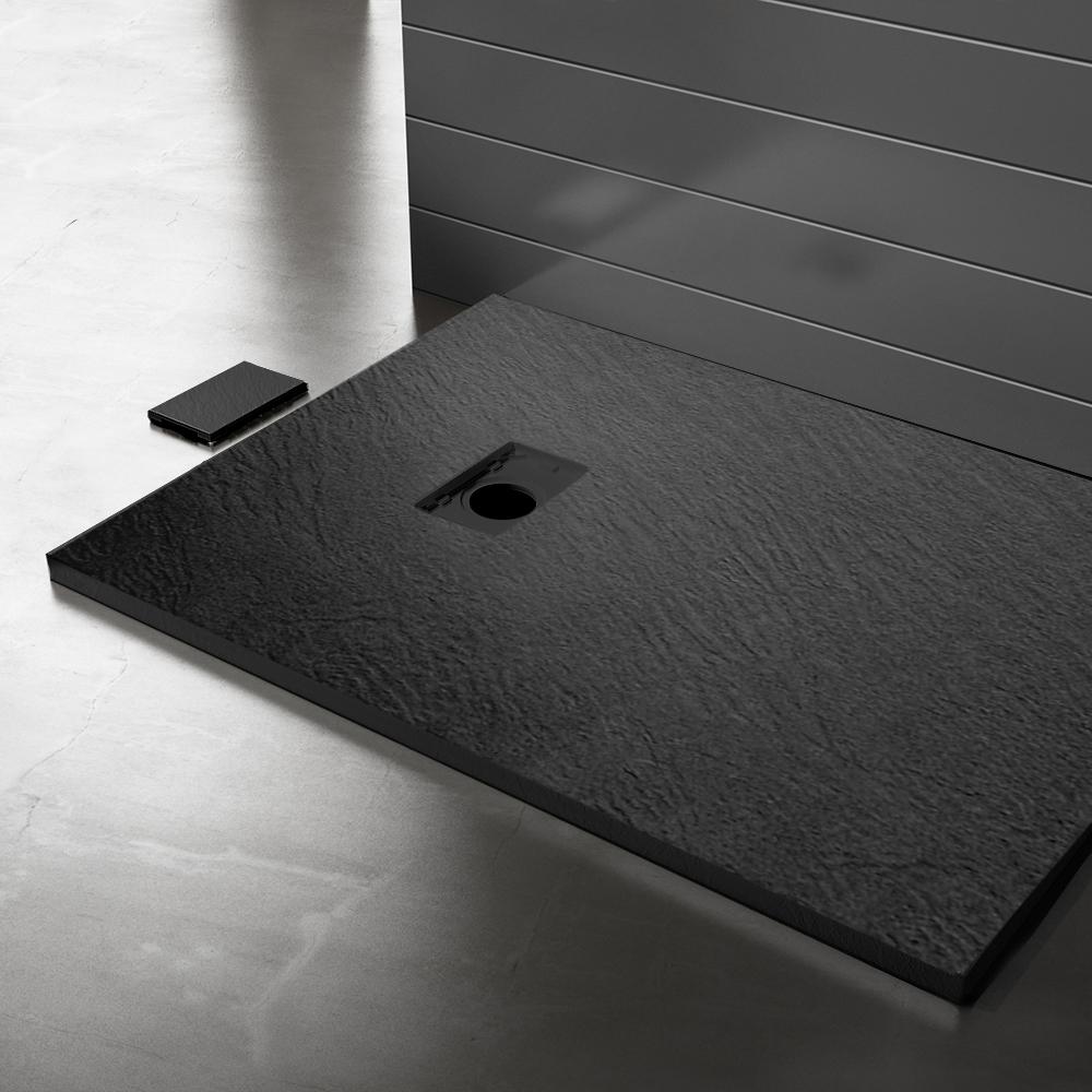 Piatto doccia effpietra nero 3 Piatto doccia rettangolare nero 80x120 h2,6 cm riducibile ultraslim effetto pietra
