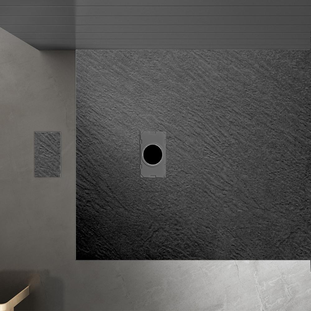 Piatto doccia effpietra nero 4 Piatto doccia rettangolare nero 80x120 h2,6 cm riducibile ultraslim effetto pietra