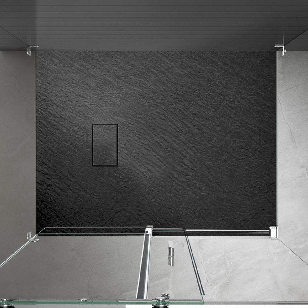 Piatto doccia effpietra nero 5 Piatto doccia rettangolare nero 80x120 h2,6 cm riducibile ultraslim effetto pietra