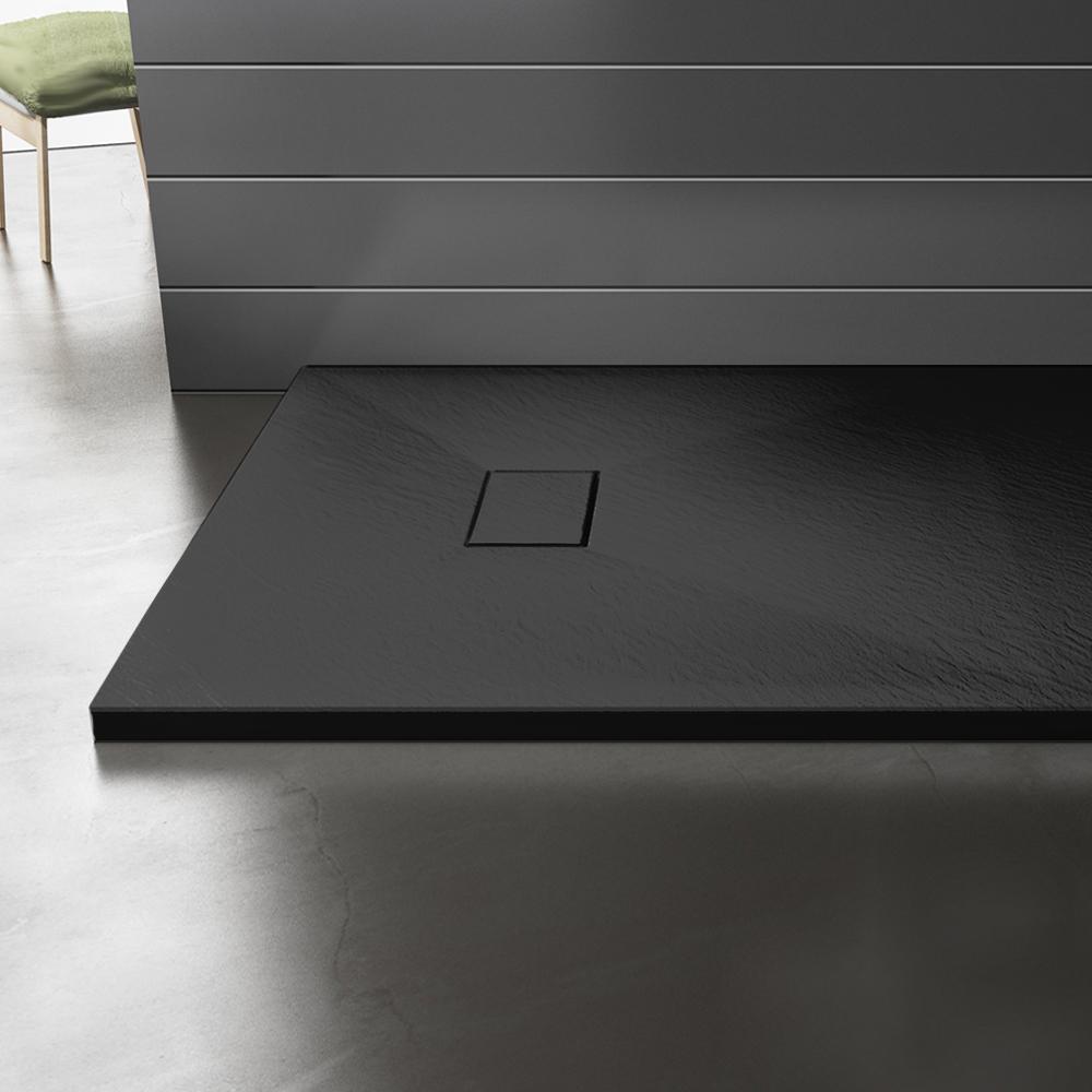 Piatto doccia effpietra nero 6 Piatto doccia rettangolare nero 80x120 h2,6 cm riducibile ultraslim effetto pietra