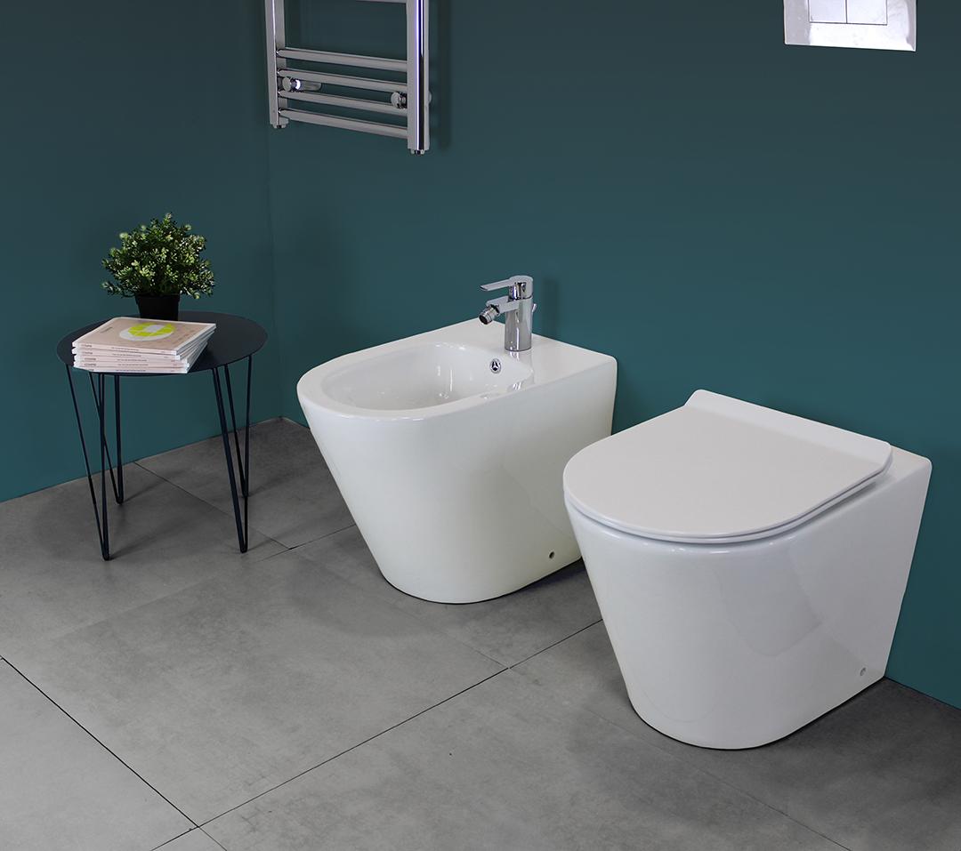 REDONDO TERRA 1 1 Sanitari filo muro Chic in ceramica Rimless Vaso+Bidet+Coprivaso Soft Close