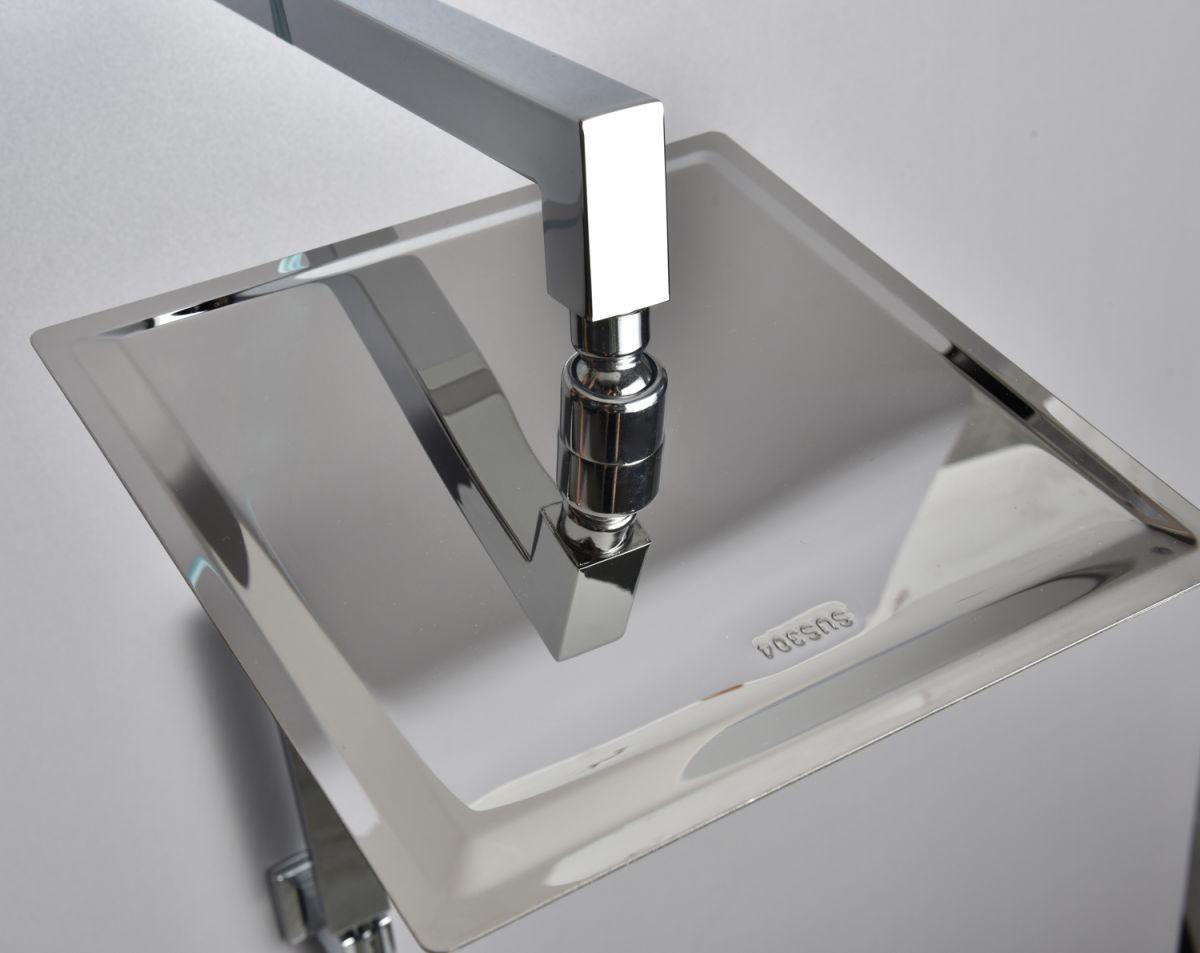 SK S11 3 Soffione Doccia quadrato in acciaio ultra slim 25x25 cm con braccio