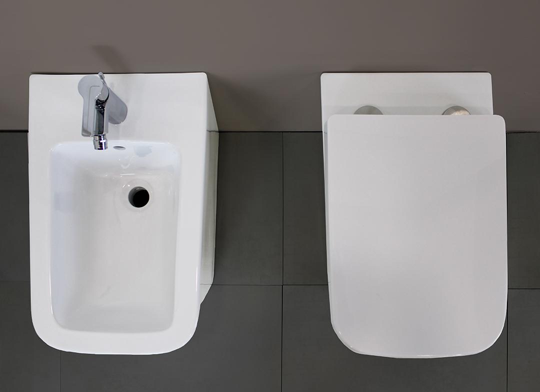 SQUARE NORMAL TERRA 3 Sanitari filo muro Square in ceramica Vaso+Bidet+Coprivaso Soft Close