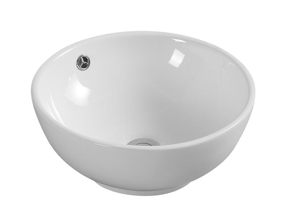 XS 0013lavabo appoggio 2 Lavabo bacinella cod XS-0013 da appoggio in ceramica di forma tonda col bianco lucido