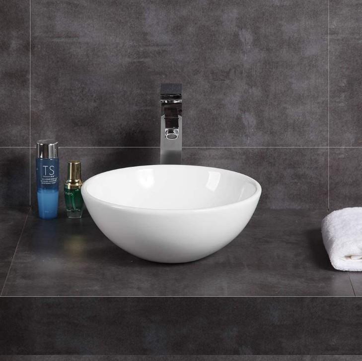 XS 0014lavabo appoggio 2 Lavabo bacinella cod XS-0014 da appoggio in ceramica di forma tonda col bianco lucido