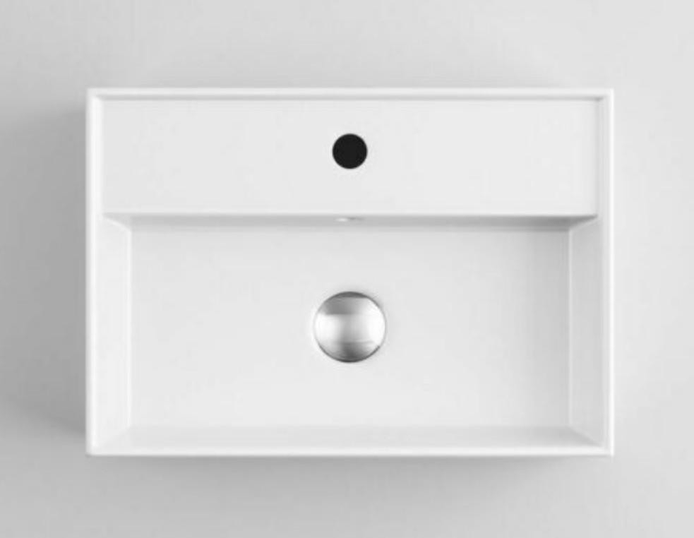 XS 0045lavabo appoggio 2 Lavabo bacinella cod XS-0045 da appoggio in ceramica di forma rettangolare col bianco lucido