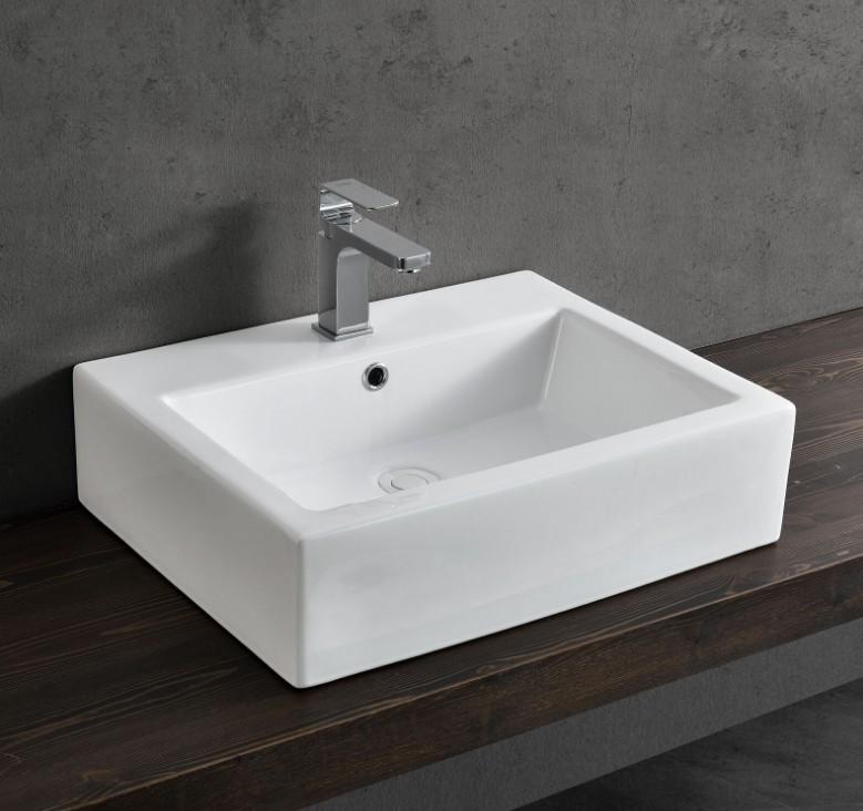 XS 0047lavabo appoggio 1 1 Lavabo bacinella cod XS-0047 da appoggio in ceramica di forma rettangolare col bianco lucido