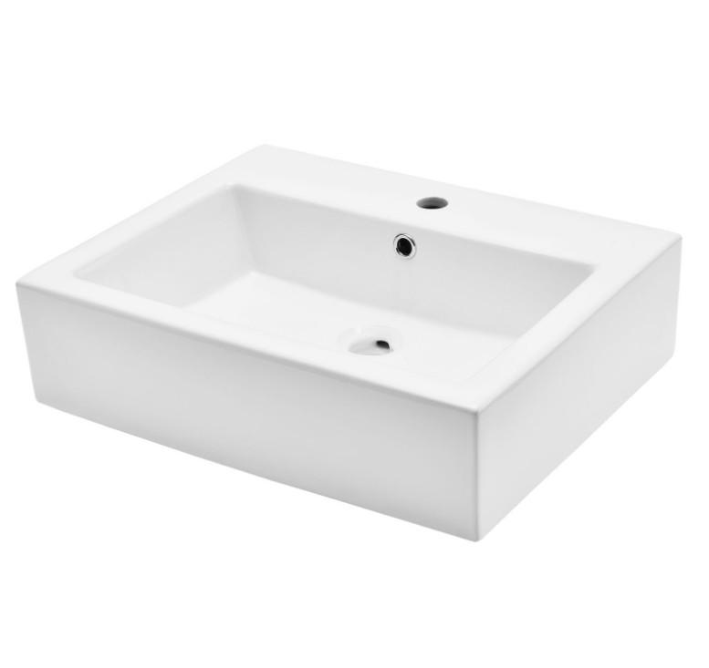 XS 0047lavabo appoggio 2 Lavabo bacinella cod XS-0047 da appoggio in ceramica di forma rettangolare col bianco lucido