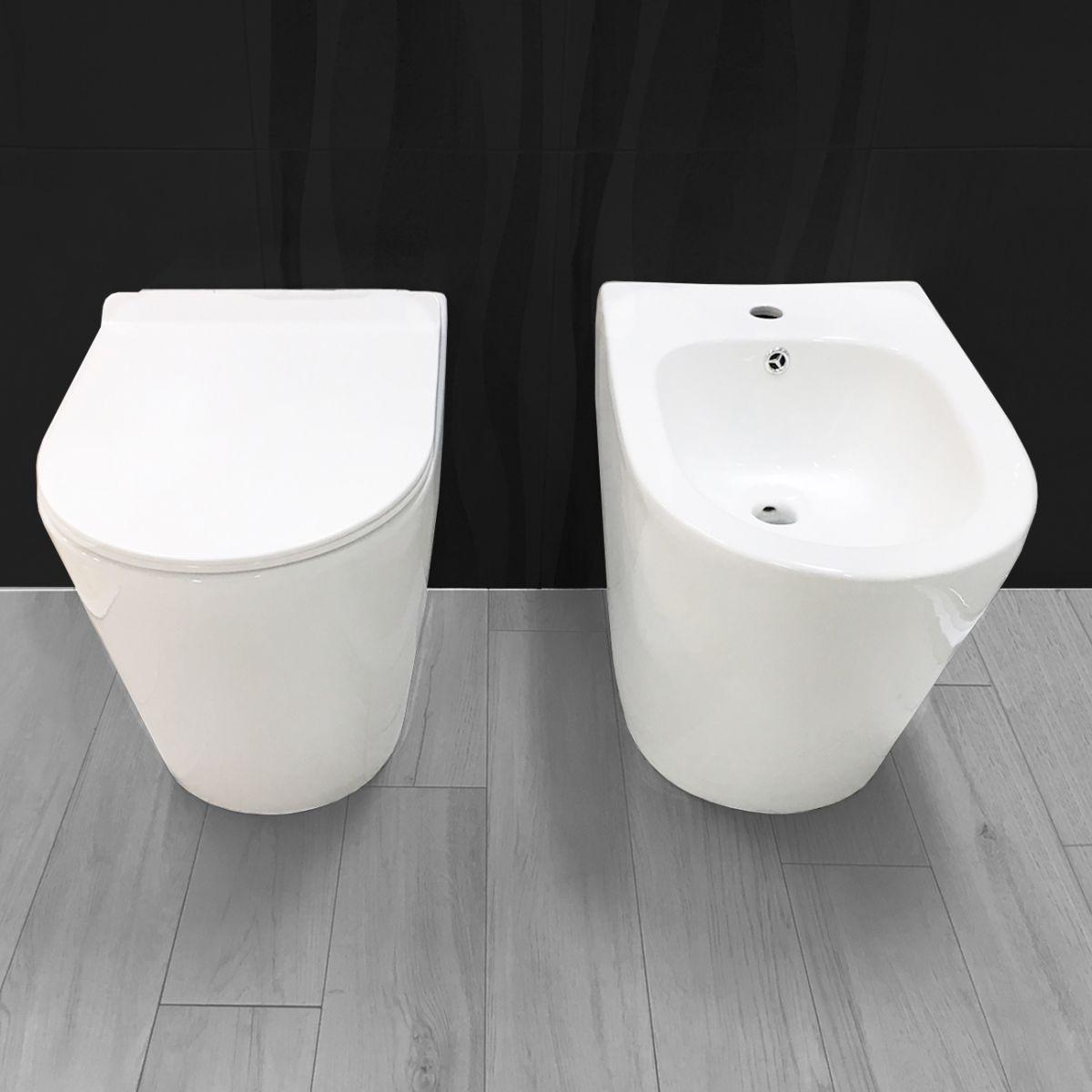 redondo fronte scuro Sanitari filo muro Chic in ceramica Rimless Vaso+Bidet+Coprivaso Soft Close