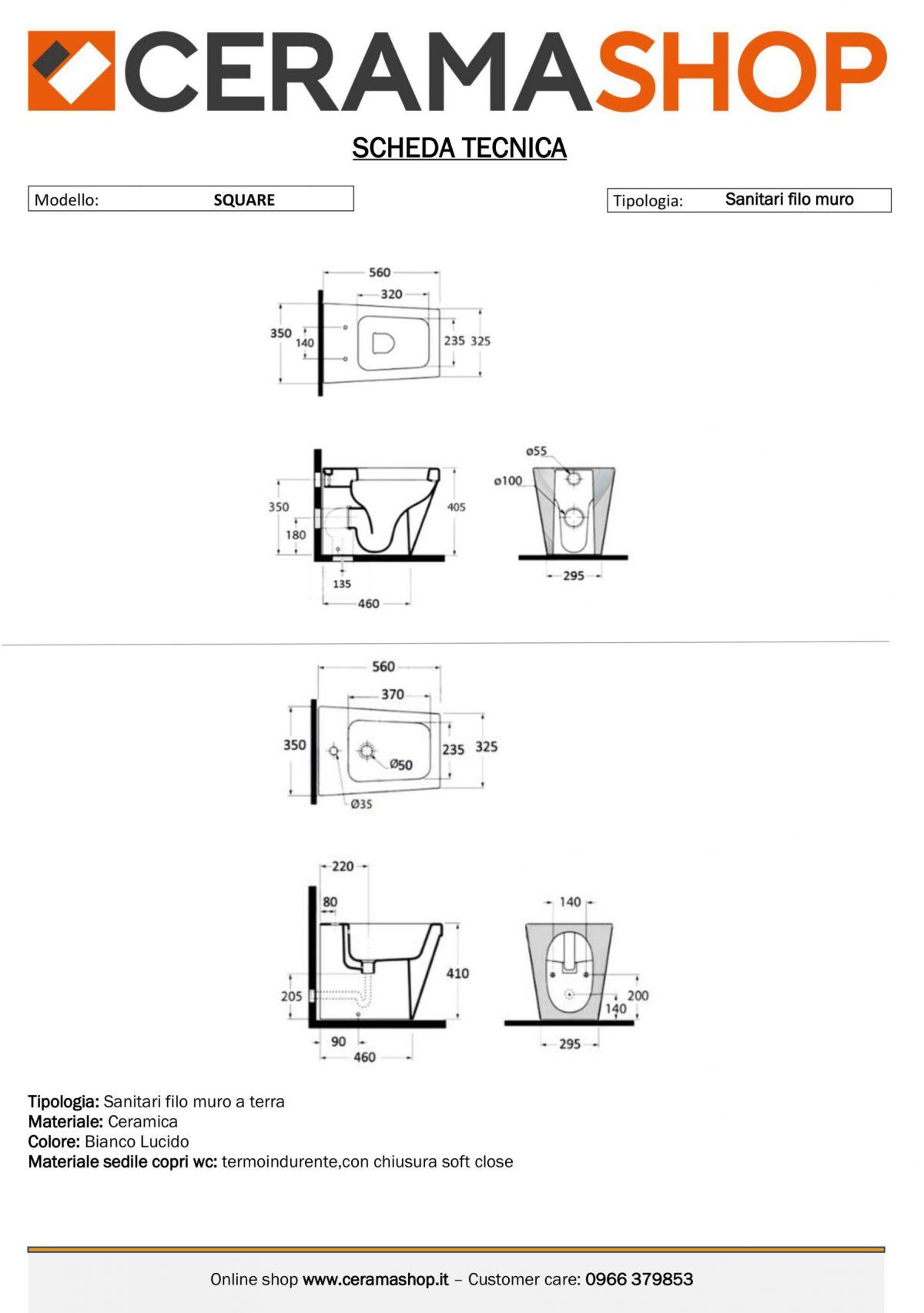 square a terra scaled Sanitari filo muro Square in ceramica Vaso+Bidet+Coprivaso Soft Close