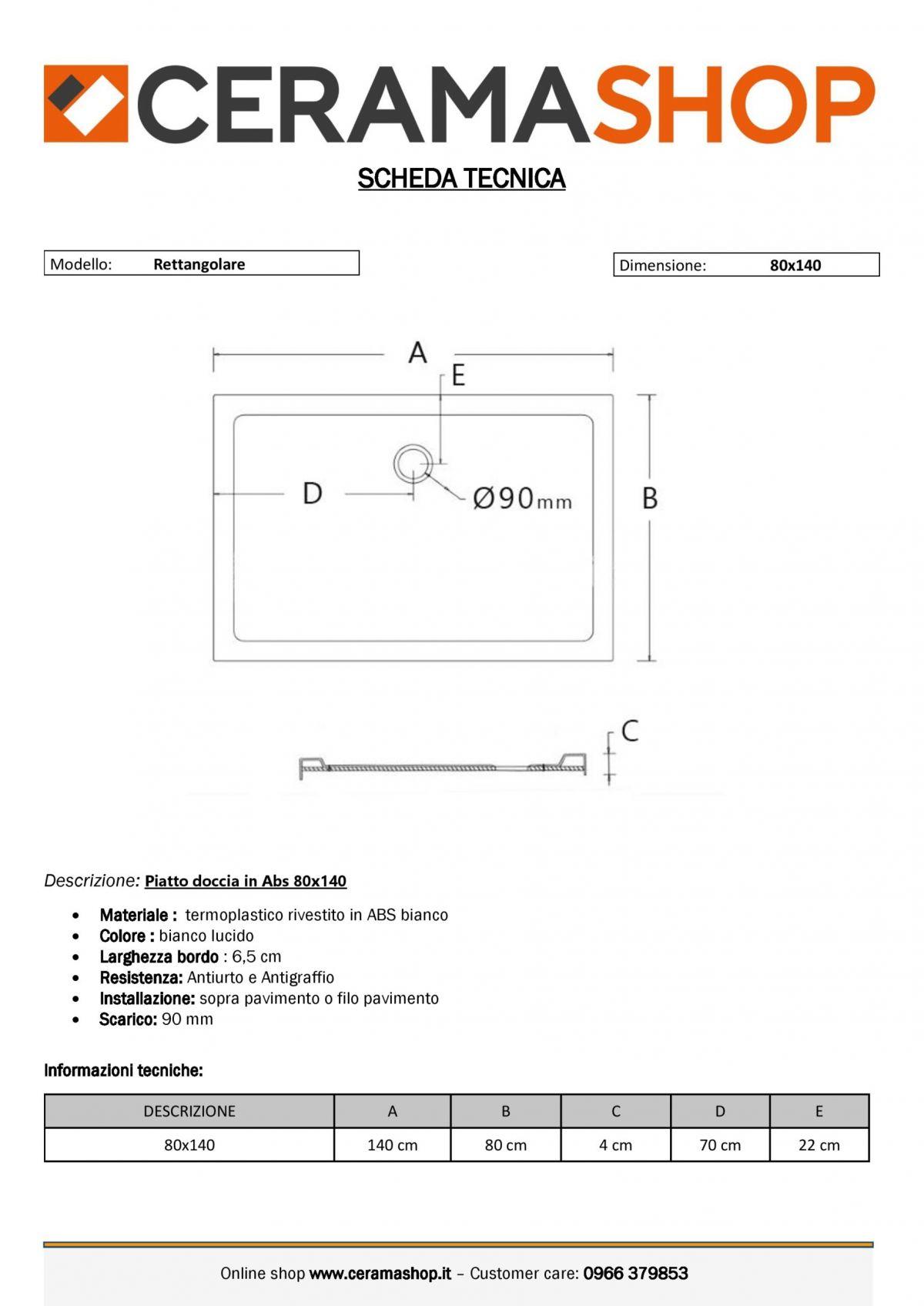 80x140 0001 2 scaled Piatto doccia rettangolare