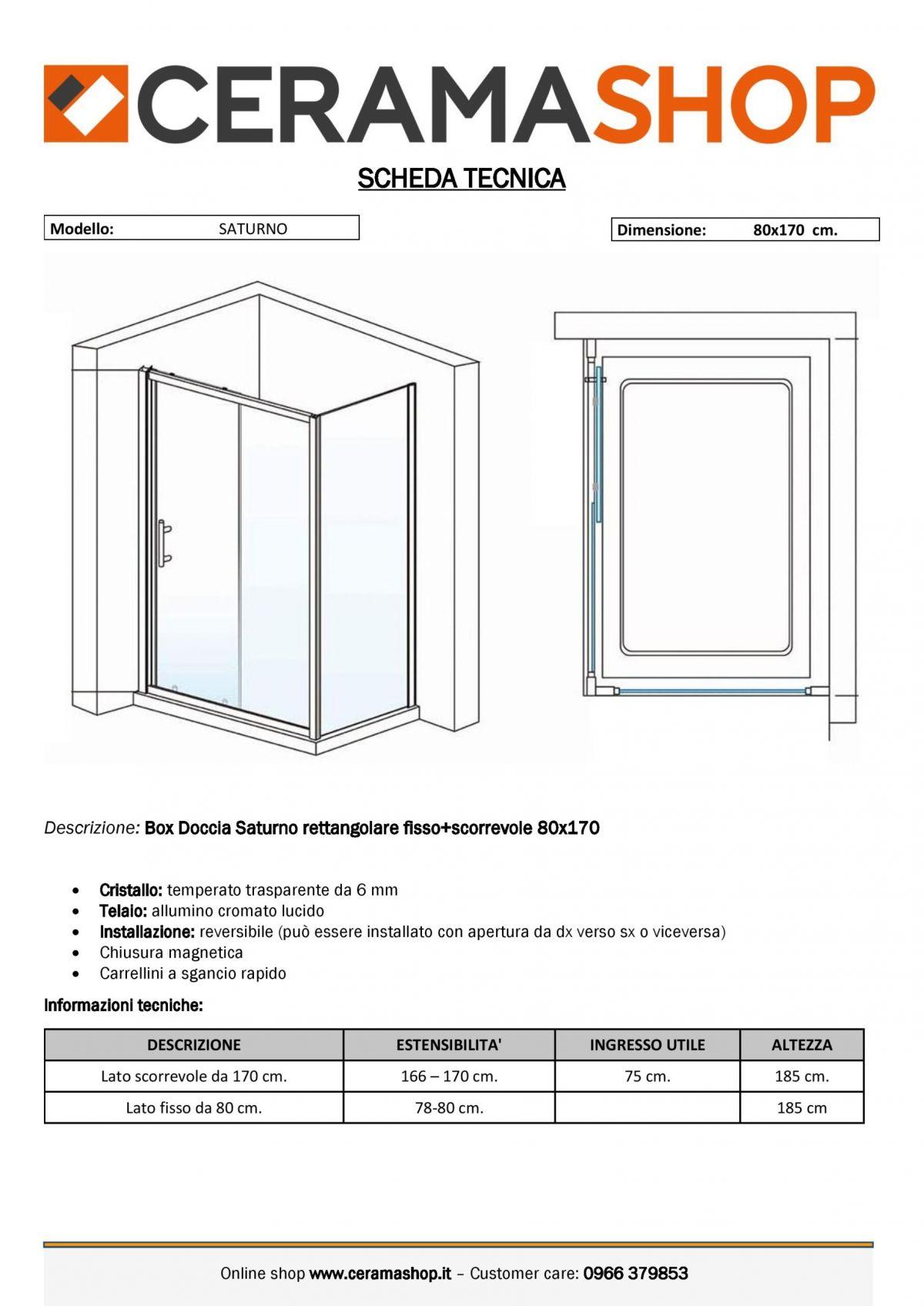 """80x170 0001 1 scaled Box doccia rettangolare """"Saturno"""" 80×170 cm lato fisso+lato scorrevole cristallo trasparente 6 mm"""