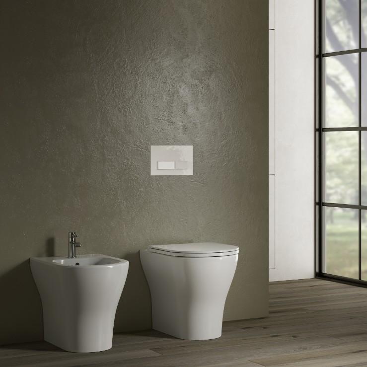 Beat terra2 Sanitari filo muro Beat in ceramica Vaso+Bidet+Coprivaso Soft Close by Hatria