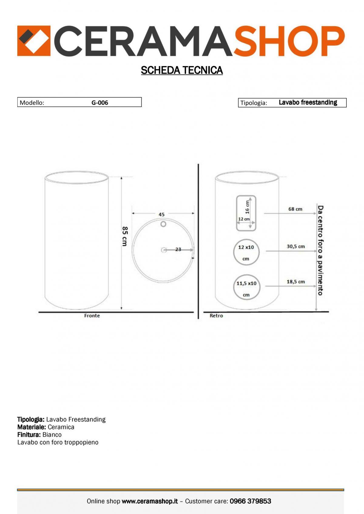 G 006 0001 scaled Lavabo freestanding cod G-006 in ceramica di forma rettangolare col bianco lucido