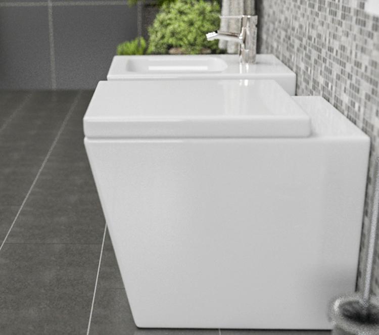 LINEA4 Sanitari filo muro Linea in ceramica Vaso+Bidet+Coprivaso Soft Close