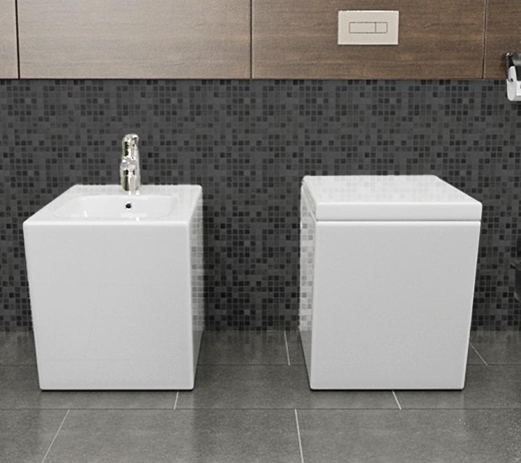 LINEA 1 Sanitari filo muro Linea in ceramica Vaso+Bidet+Coprivaso Soft Close
