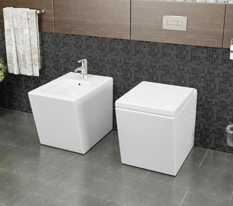 LINEA 2 Sanitari filo muro Linea in ceramica Vaso+Bidet+Coprivaso Soft Close