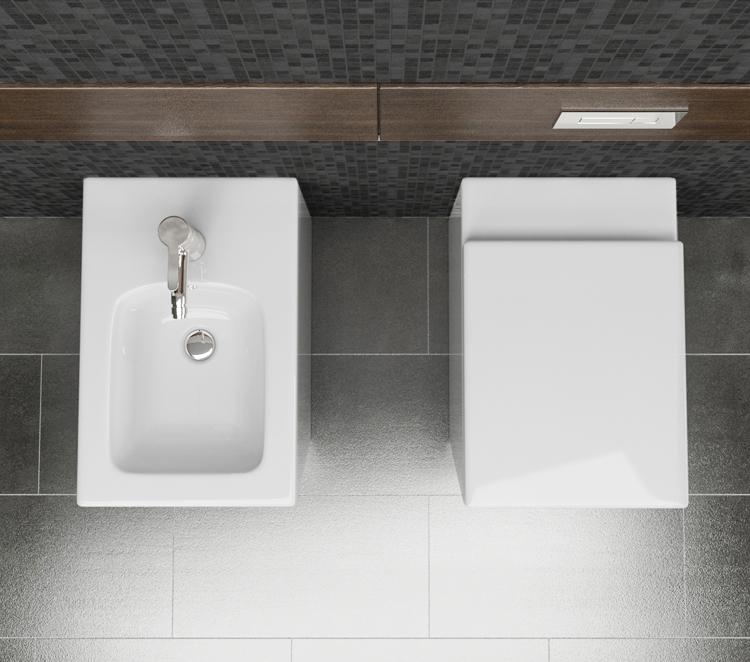 LINEA 3 Sanitari filo muro Linea in ceramica Vaso+Bidet+Coprivaso Soft Close