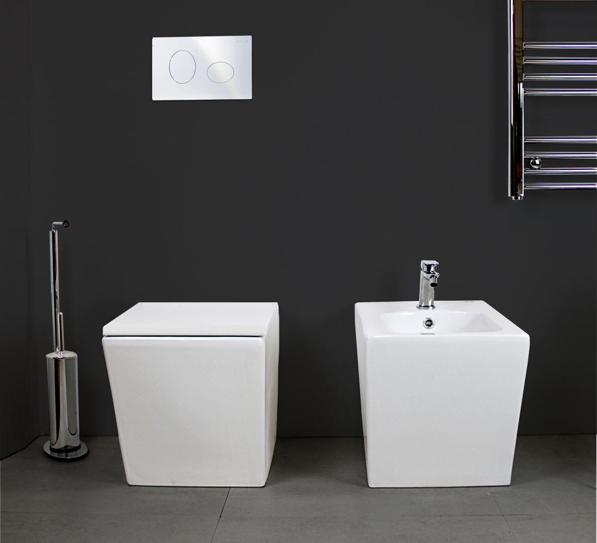 LINEA TERRA 2 1 Sanitari filo muro Linea in ceramica Vaso+Bidet+Coprivaso Soft Close