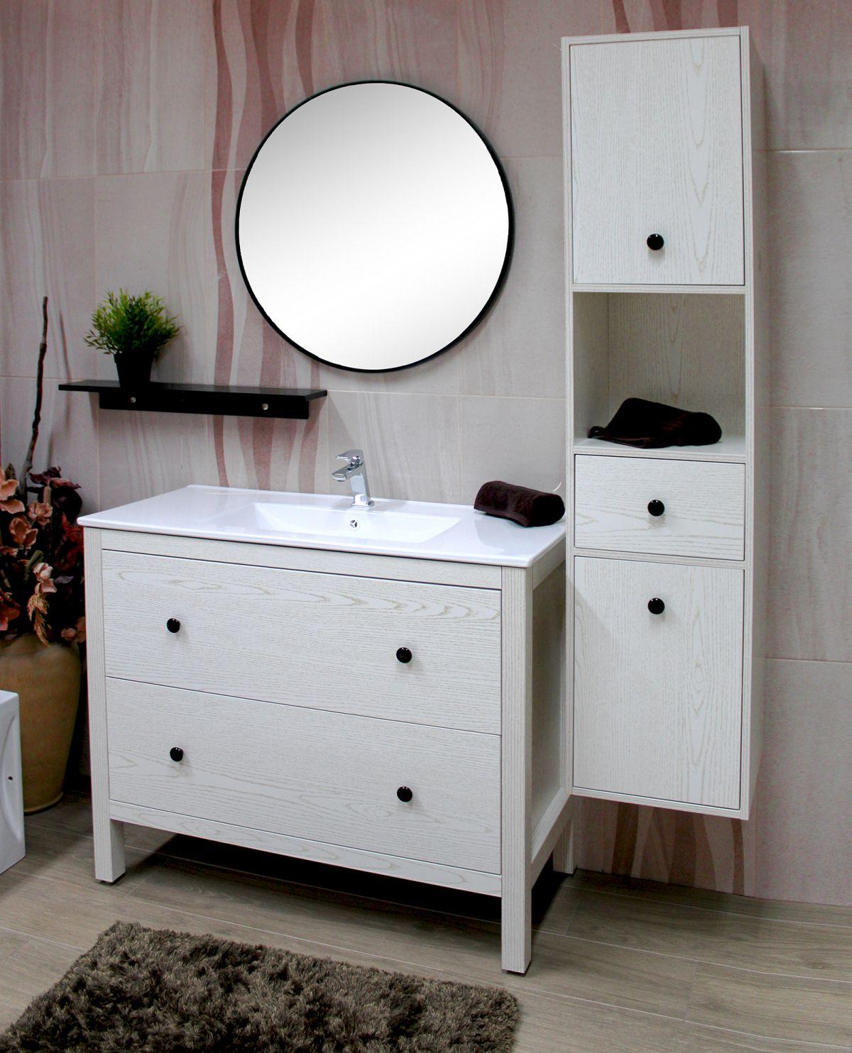 PARIGI BIANCO 3 Mobile bagno Parigi terra 100 cm bianco decapè con lavabo specchio, pensile e colonna